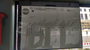 Bus route chart inside the bus