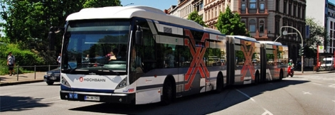 Metrobus M5 has the highest daily ridership in Europe. Bi-articulated buses with 3-4 minutes headways. Courtesy NahverkehrHamburg.